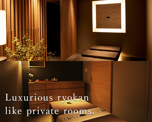 Creating mood and atmosphere A private room looks like a Japanese luxury hotel